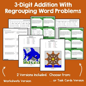 Addition With Regrouping Word Problems Three Digit Addition Color By Code Sheets