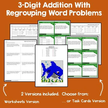 Math Centers Addition Word Problems 3 Digit Task Cards, Coloring Worksheets