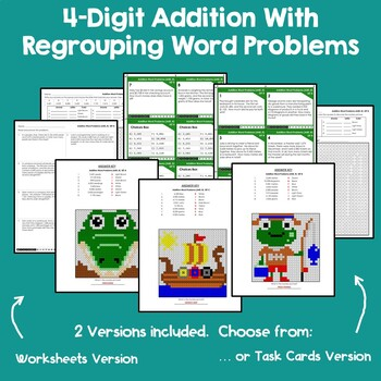 4 Digit Addition With Regrouping Word Problems Task Cards & Worksheets Coloring