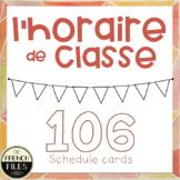 106 French Class Schedule Cards  - Horaire de classe / Menu du jour