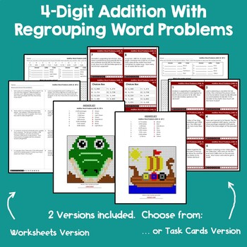 Adding 4 Digit Numbers With Regrouping Word Problems Addition Worksheets