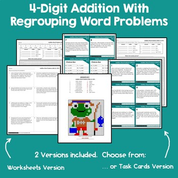 4 Digit Addition With Regrouping Task Card, Word Problems Adding With Regrouping