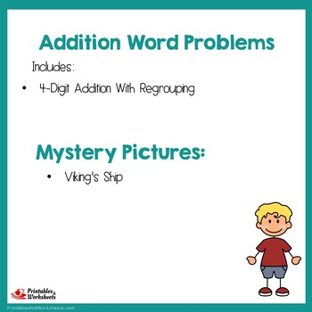 Addition Regrouping Four Digit Numbers, Adding Word Problems Worksheets