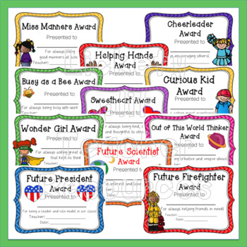 107 End of the Year Award Certificate Set with Organizer - Low Color Ink Version