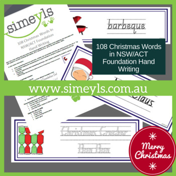 108 Christmas Words In NSW/ACT Foundation  Hand Writing