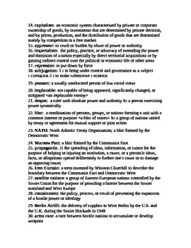 UNIT 13 LESSON 2. Cold War Intro: Vocabulary List