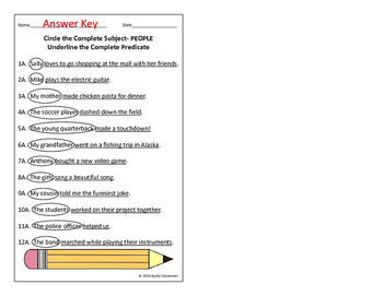 Complete Subject and Predicate Task Cards