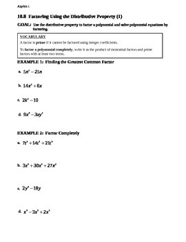 10.8 Factoring Using the Distributive Property (1)