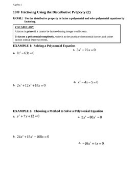 10.8 Factoring Using the Distributive Property (2)