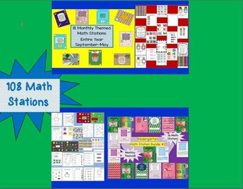 108 Kindergarten Common Core Math Stations Monthly Themed B2S