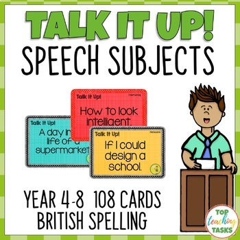 108 Speech Topic Cards for Oral Presentations - Year 4-8 N
