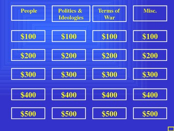 UNIT 13 LESSON 7. Cold War JEOPARDY! REVIEW GAME