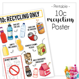 10c Recycling Bottle & Cans Poster - Staff room or School
