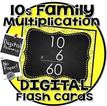 10s Facts - DIGITAL (PowerPoint) Multiplication Flash Cards -10's Family