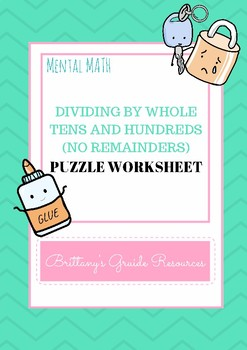 10s and 100s Division Puzzle Worksheet