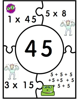 10's and 5's table fact family puzzles