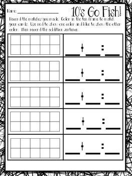 10's go fish; Math Game- make 10