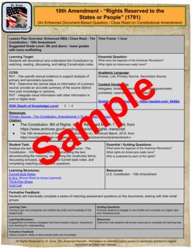"10th Amendment - ""Rights Reserved to States/People""-Enhanced DBQ-Close Read(PDF)"