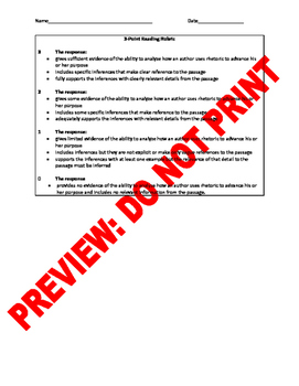 10th Grade CCSS Author's Purpose Assessment Bank