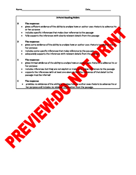 10th Grade CCSS Authors Purpose Constructed Response/Multiple Response Item Bank