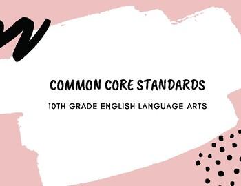 10th Grade Common Core ELA Standards Display