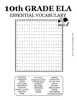 10th Grade ELA Important Vocabulary word search puzzle worksheet