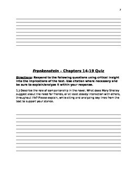 Frankenstein by Mary Shelley - 10th Grade Lesson Plans with Chapters 9-13 Quiz