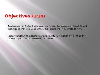 10th Grade English Lessons - Shakespeare's Julius Caesar - Letters to Caesar