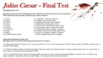 Julius Caesar Lesson Plans & Final Exam - Multiple Choice & Short Answer