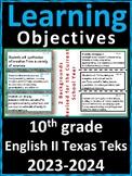 10th Grade Texas TEKS | English II Learning Objectives Car