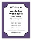 10th Grade Vocabulary Worksheets Sample
