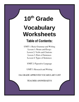 Worksheets 10th Grade Worksheets 10th grade vocabulary worksheets sharebrowse pixelpaperskin