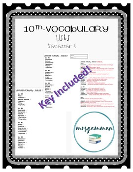 10th Vocabulary List and Key-Semester 1