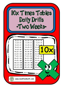 10x Times Table Daily Drills
