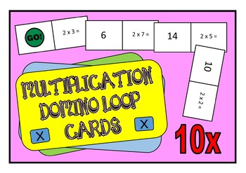 10x Times Table Multiplication Domino Loop Cards