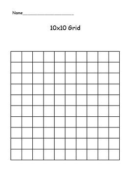 10x10 grid by the real miss nelson teachers pay teachers