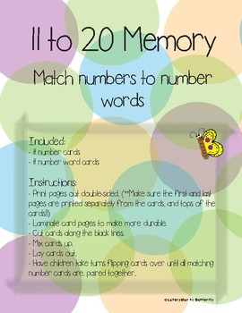 11-20 Numbers and Number Words Memory