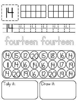 11-20 Teen Number Recognition Practice Pages