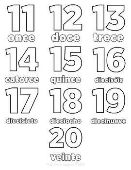 11-20 coloring pages (Spanish)