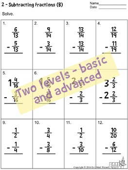 11 Adding and Subtracting Fraction Worksheets with Common Denominators
