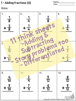 adding and subtracting fractions worksheet teaching resources    adding and subtracting fraction worksheets with common denominators