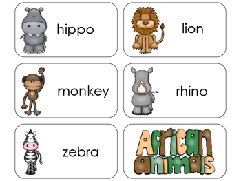 11 African Animals Beginning Stages Flashcards. Preschool-1st Grade
