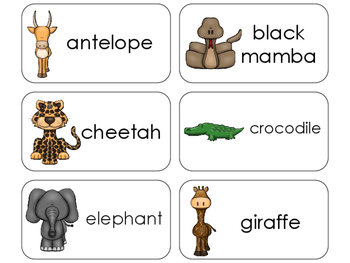 11 African Animals Beginning Stages Flashcards. Preschool-1st Grade