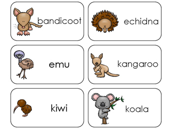 11 Australian Animals Beginning Stages Flashcards. Prescho
