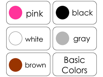 11 Basic Colors Beginning Stages Flashcards. Preschool-1st Grade