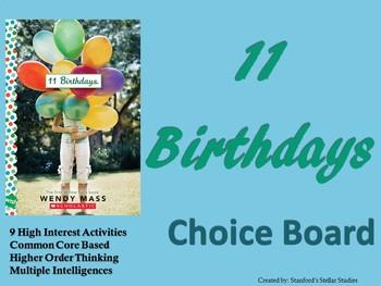 11 Birthdays Choice Board Novel Study Activities Menu Book Project Rubric