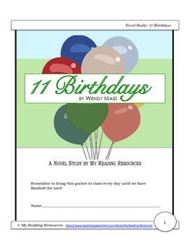11 Birthdays by Wendy Mass Novel Study