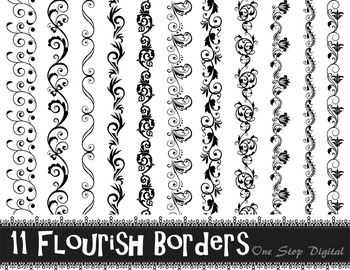 11 Black Flourish Border Clip Art Swirl Border Black Lace Border Clip Art