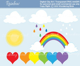 11 CLIP ART and 6 DIGITAL PAPER Rainbows and clouds