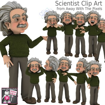 11 Cartoon Scientist Clip Art for Teachers, Perfect for Sc